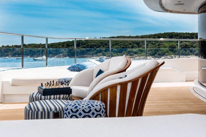 Owner's deck alfresco forward lounge aboard M/Y CLOUD 9