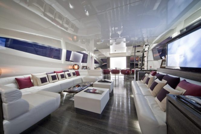 Salon and formal dining area aboard M/Y TOBY