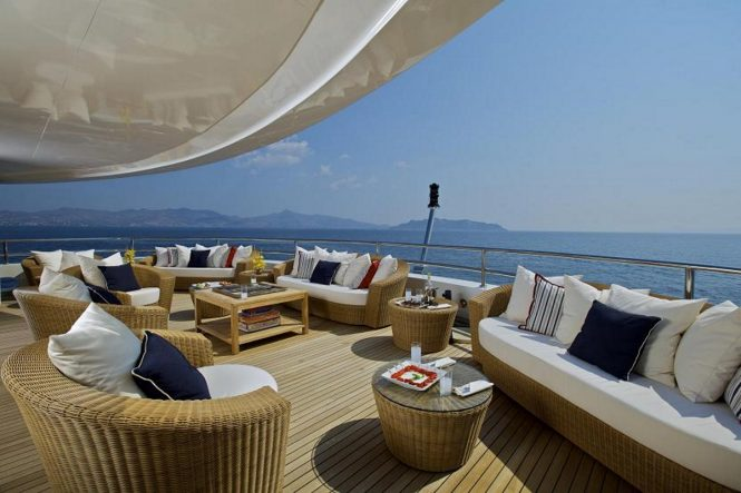 Seating along the upper deck stern of luxury yacht O'MEGA