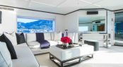 Skylounge seating aboard motor yacht MISCHIEF