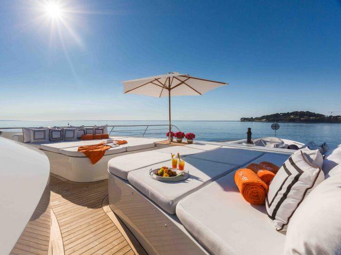 Sundeck sunpads aboard motor yacht MISCHIEF