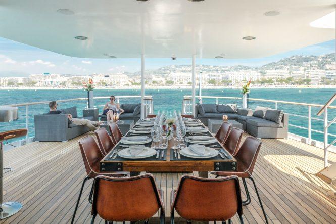 Superyacht ALTER EGO - Main deck aft alfresco dining