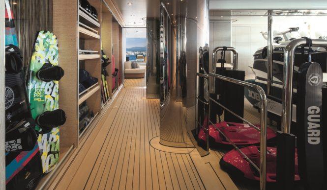 Superyacht CLOUD 9 - Lower deck tender garage and water toys storage