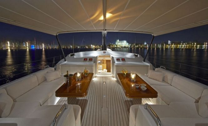 Superyacht NEPHELE - Cockpit dining at night