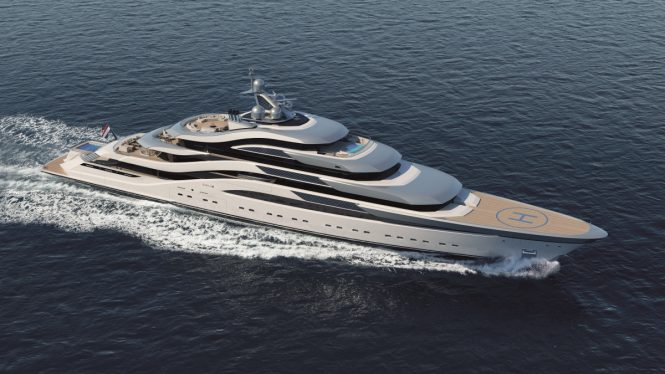 Superyacht POLLUX concept image from Amels and H2 Yacht Design
