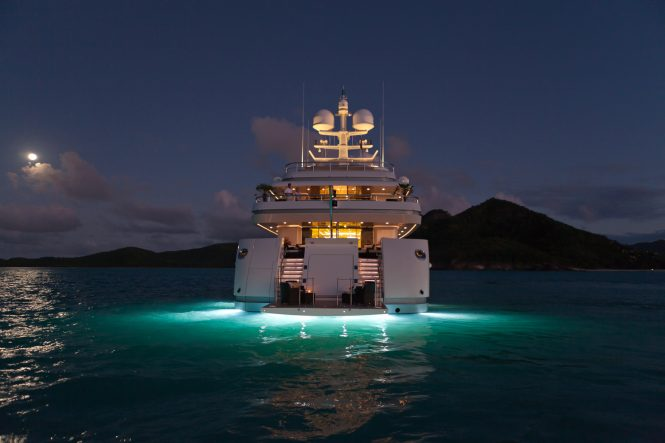 Superyacht RoMA - Swim platform seating at night
