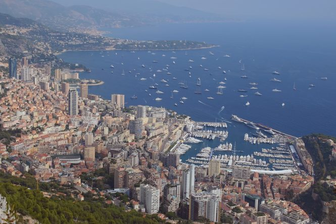 Superyachts gathering at the Monte Carlo marina ahead of the Monaco Yacht Show. Image credit Didier Didairbus