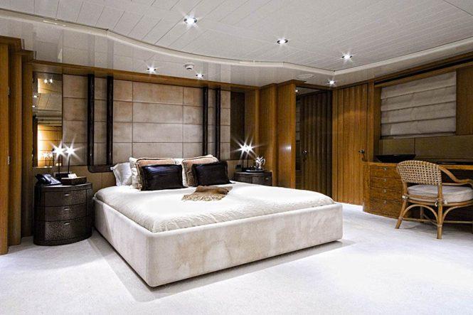 The Master suite aboard motor yacht KIJO