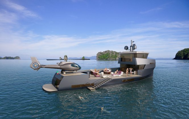 The NAUCRATES 85 concept from design studio Green Yachts