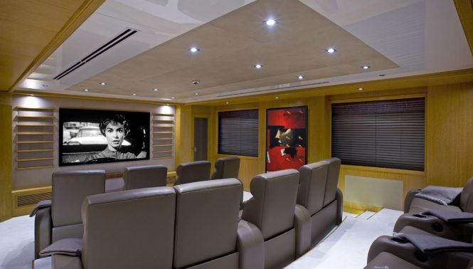The cinema aboard M/Y INDIAN EMPRESS
