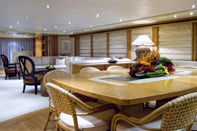 The formal dining area aboard superyacht KIJO