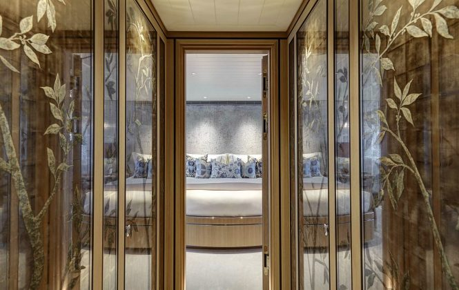 The glasswork detail in one of the guest cabins aboard luxury yacht JOY