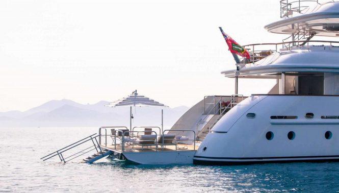 The swim platform and beach club aboard luxury yacht PRIDE