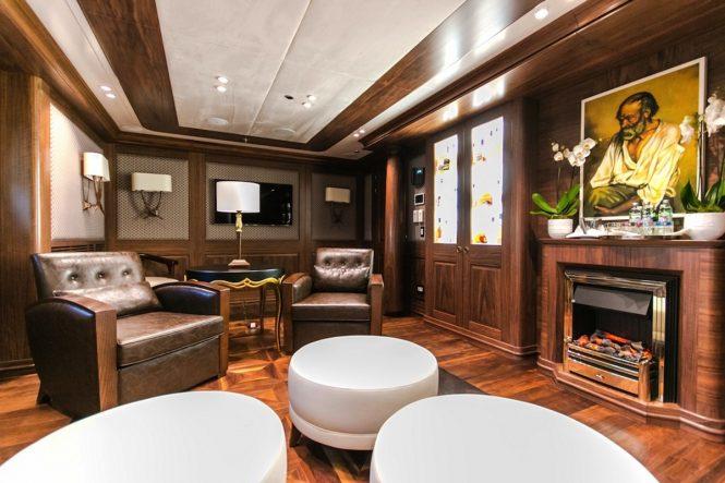 The whiskey lounge aboard luxury yacht KATINA