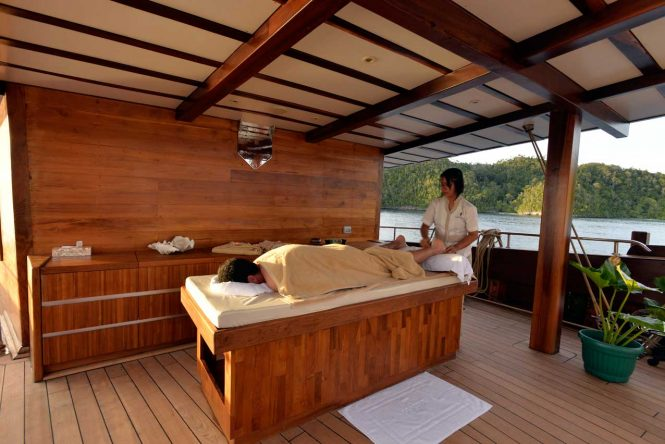 Alfresco massage therapies aboard superyacht LAMIMA