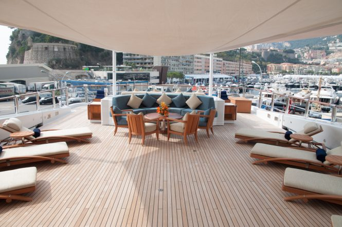 Anastasia at MYS in Monaco - sun deck with sun loungers