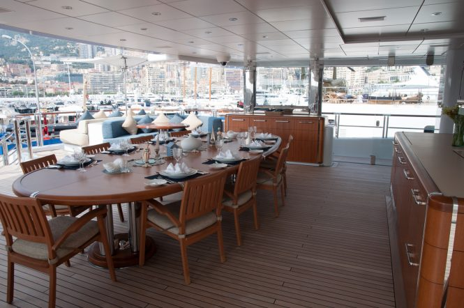 Anastasia at the MYS 2017 - aft deck dining table alfresco