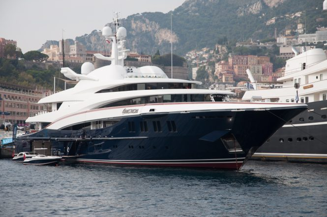 Anastasia at the Monaco Yacht Show