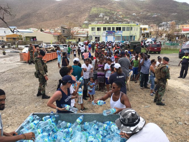 K1 Britannia Foundation assisting in the distribution of food and water in St Maarten