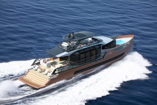 Luxury yacht XSR 85 concept. Photo credit Red Yacht Design