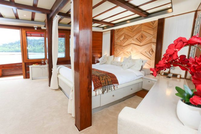 Master suite aboard sailing yacht LAMIMA