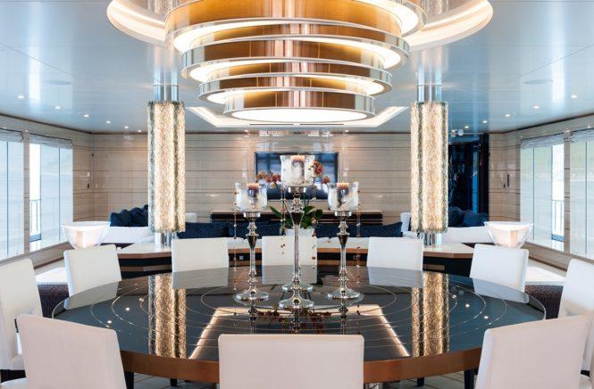 Motor yacht IRIMARI - Formal dining area within the open plan main salon