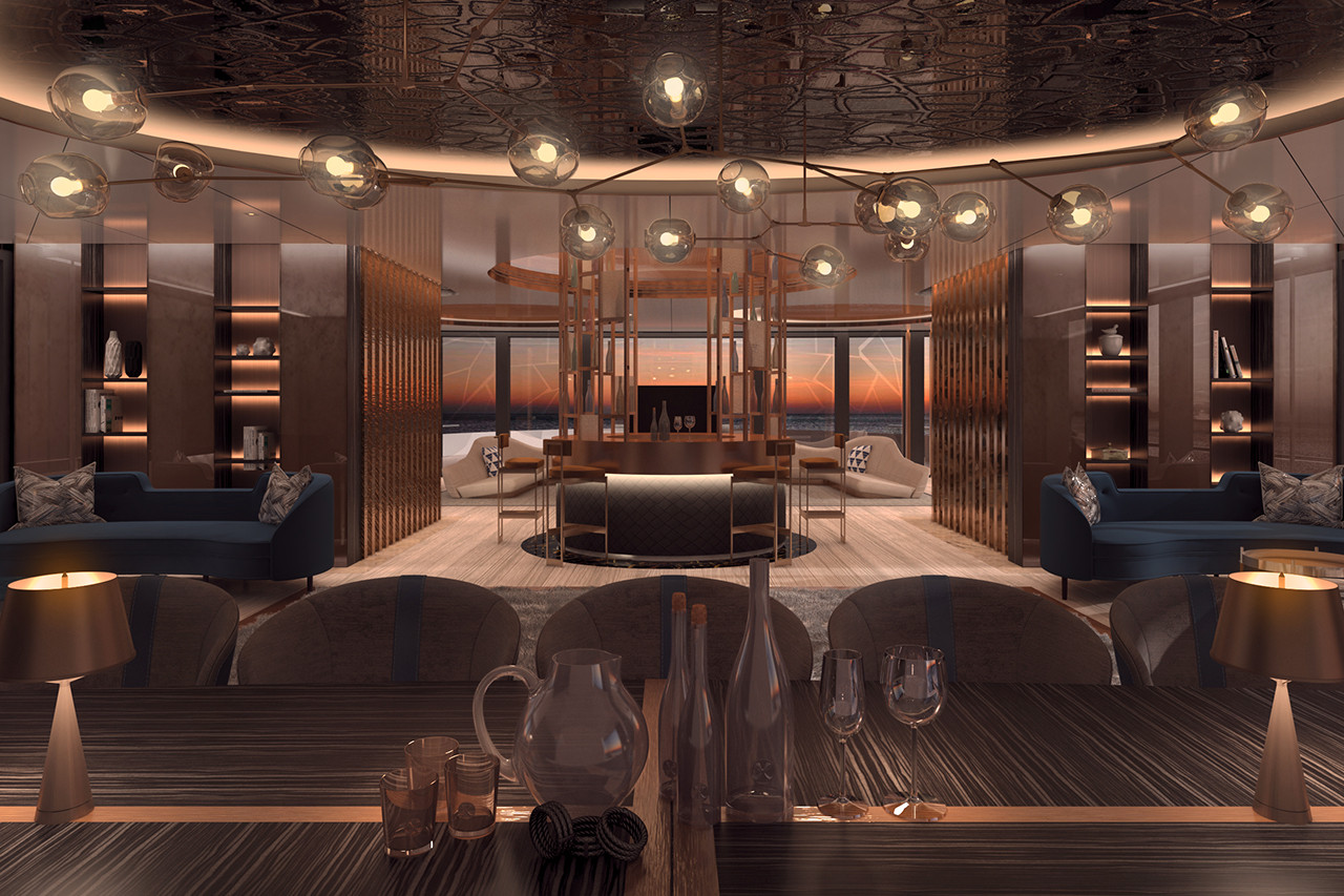 Motor Yacht LINEA Formal Dining Area And Bar Leading Into The Main Salon