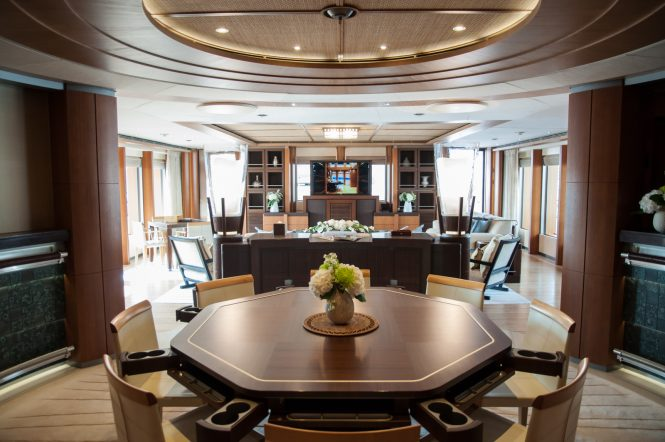 Oceanco yacht Anastasia at MYS 2017 - upper deck saloon with games : dining table and seating area