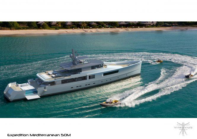Phillippe Briand-Vitruvius Yachts 50m Mediterranean crossover yacht