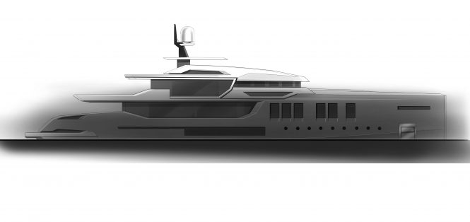 Profile of the 55m ICE Yachts hull