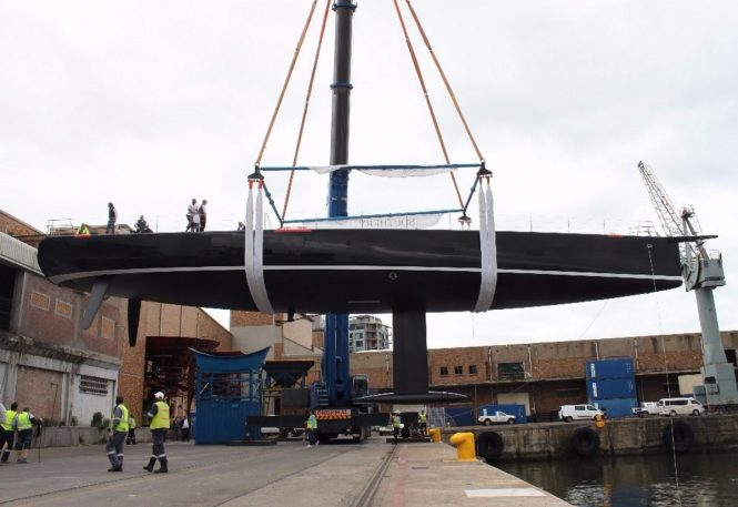 Sailing yacht SATISFACTION preparing for launch at the Southern Wind facilities