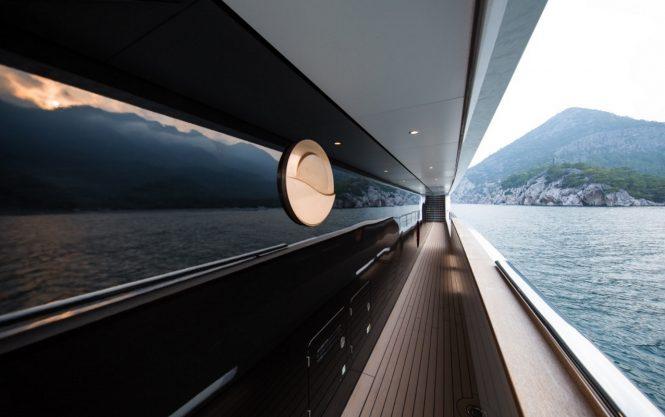 Side decks aboard superyacht IRIMARI