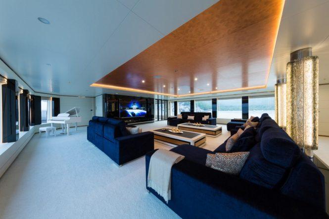 Skylounge cinema and piano aboard luxury yacht IRIMARI
