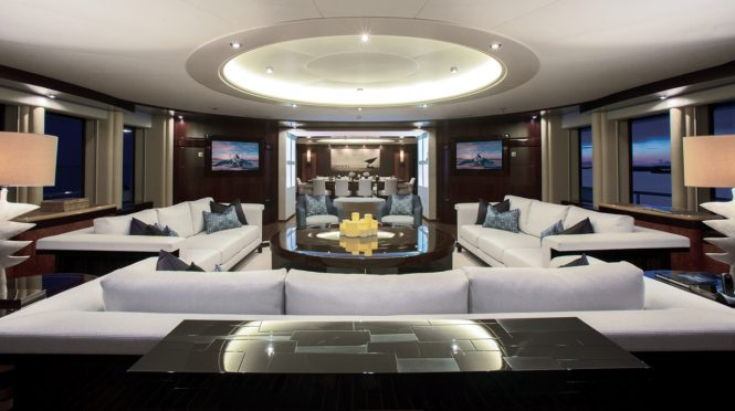 Superyacht DREAM - Main salon and formal dining area