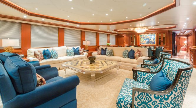 Superyacht MIM - The open-plan main salon with formal dining area