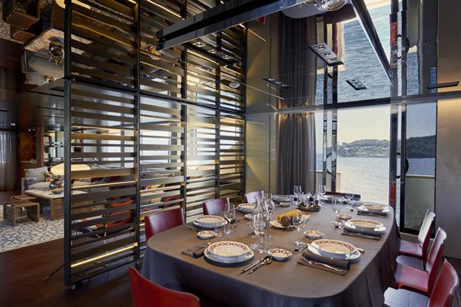 Superyacht TAKARA - Formal dining area in the open plan main salon