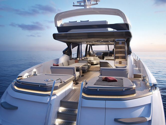 The aft deck salon and sunpads of the S78