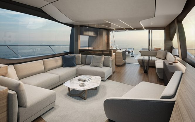 The open plan salon of the S78 from Princess Yachts