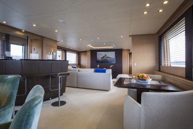 The salon aboard superyacht MIDNIGHT SUN