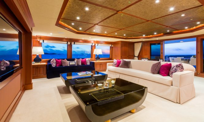 The skylounge aboard luxury yacht MIM