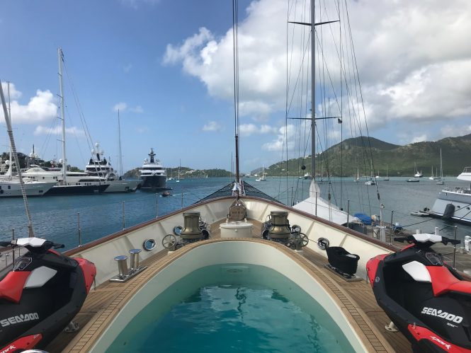 Aboard the luxury charter yacht NERO at Antigua Yacht Show 2017 - Photo CharterWorld.com