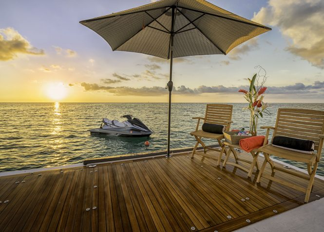 relaxing at sunset in the Caribbean - yacht Gladius - more info below