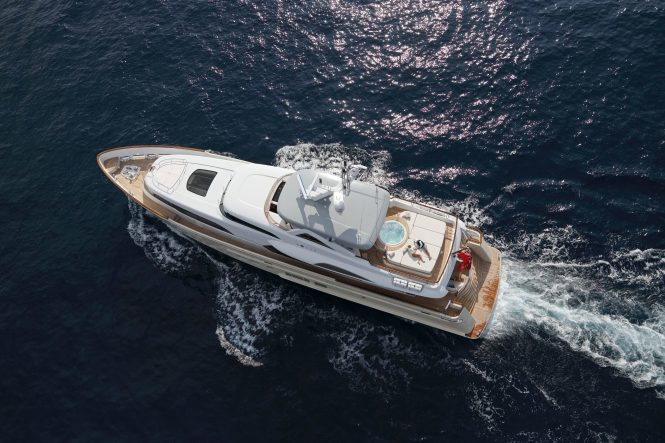 Aerial view of the motor yacht SOLIS
