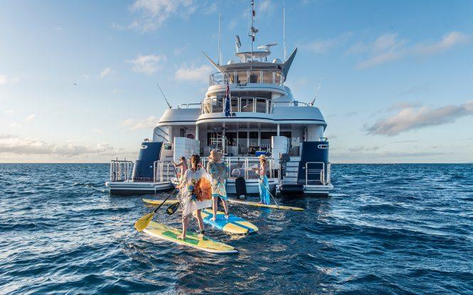 Enjoying the water toys with SPIRIT catamaran