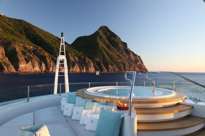 Fabulous views while relaxing in the onboard Jacuzzi