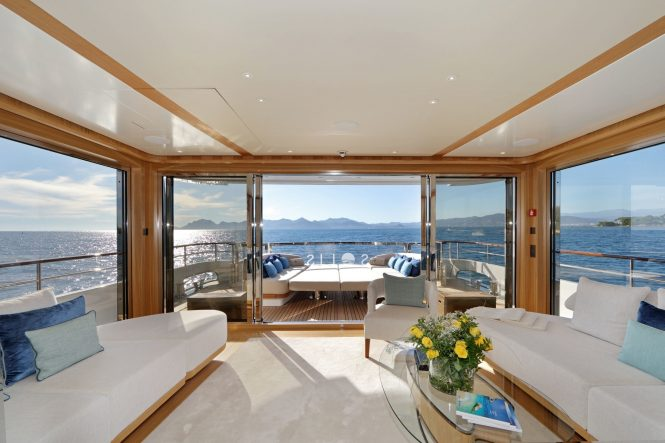 Huge windows and great indoor outdoor flow between main saloon area and aft exterior relaxation area on the main deck