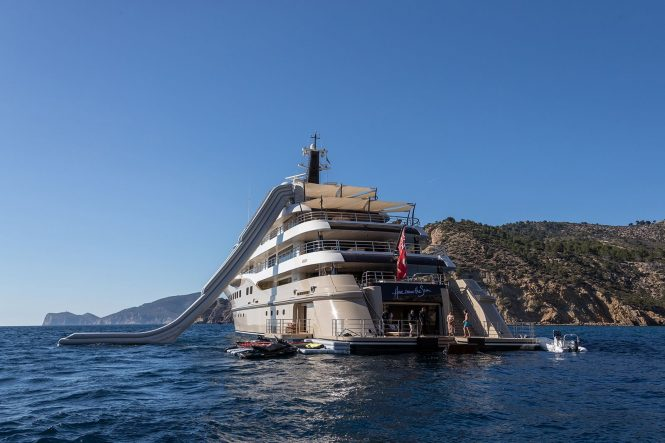 Mega yacht HERE COMES THE SUN with water toys