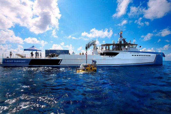 NEW FRONTIERS luxury yacht support vessel by DAMEN - with a Triton submarine