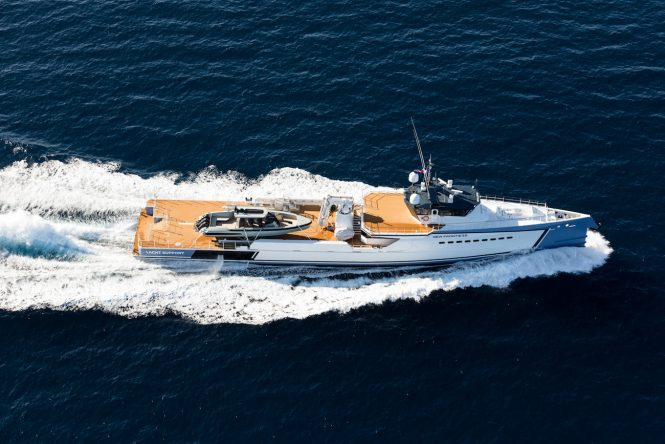 NEW FRONTIERS yacht support vessel from above by DAMEN
