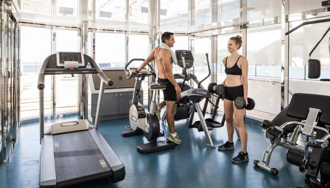 Onboard gym with amazing views aboard TITANIA